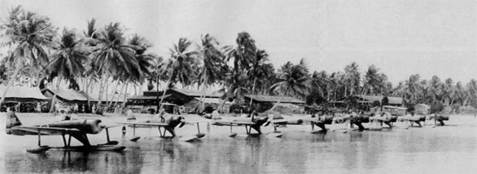 Squad of Rufe's at Bougainville . These things were very nimble even with the pontoons.-