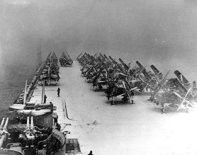 Snow on deck. USS Philippine Sea North Pacific 1945