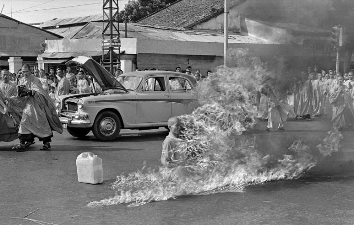 Malcolm Browne, Buddhist Monk, Thich Quang Duc Burns Himself to Death on a Saigon Street to Protest Persecution of Buddhists by the South Vietnamese Government, June 11, 1963