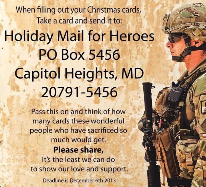 Send our troops mail for the holidays!