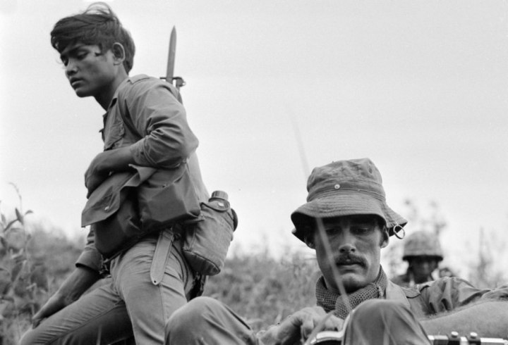 Sean Flynn, an American freelance photojournalist covering the war for Time magazine, is photographed during operations near a U.S. Special Forces camp at Ha Thanh, in Quang Ngai province. September 1968.
