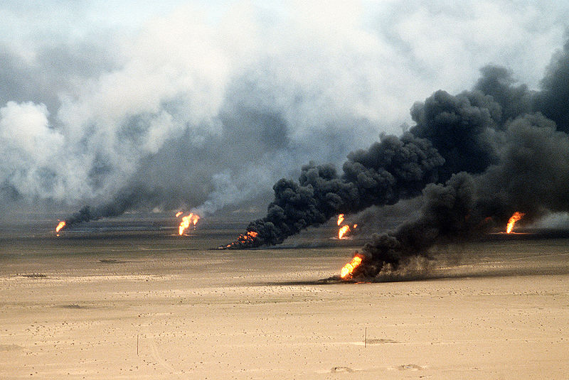 Oil well fires rage outside Kuwait City in the aftermath of Operation Desert Storm. The wells were set on fire by Iraqi forces before they were ousted from the region by coalition force.