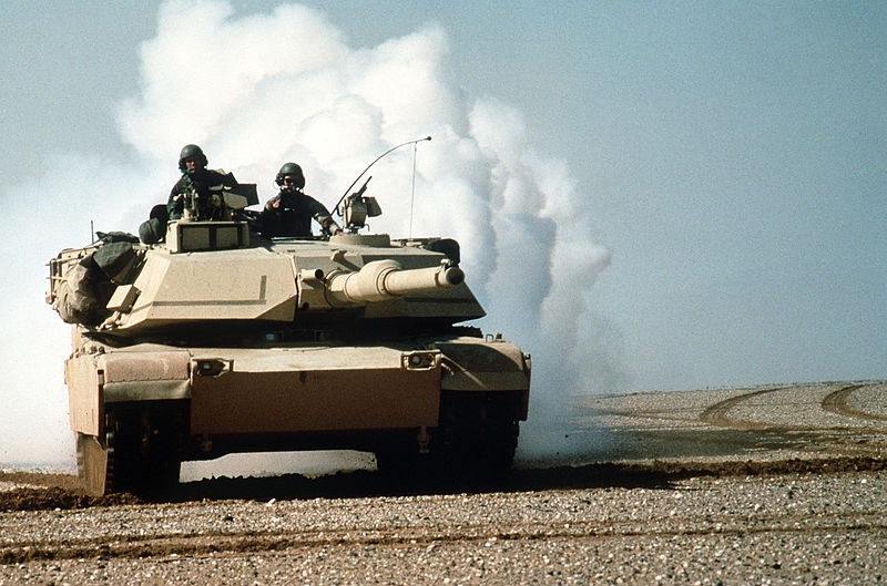 Abrahms tank in desert, front end view.--Nearly one third of soldiers sent to the Gulf War have Gulf War Illness symptoms
