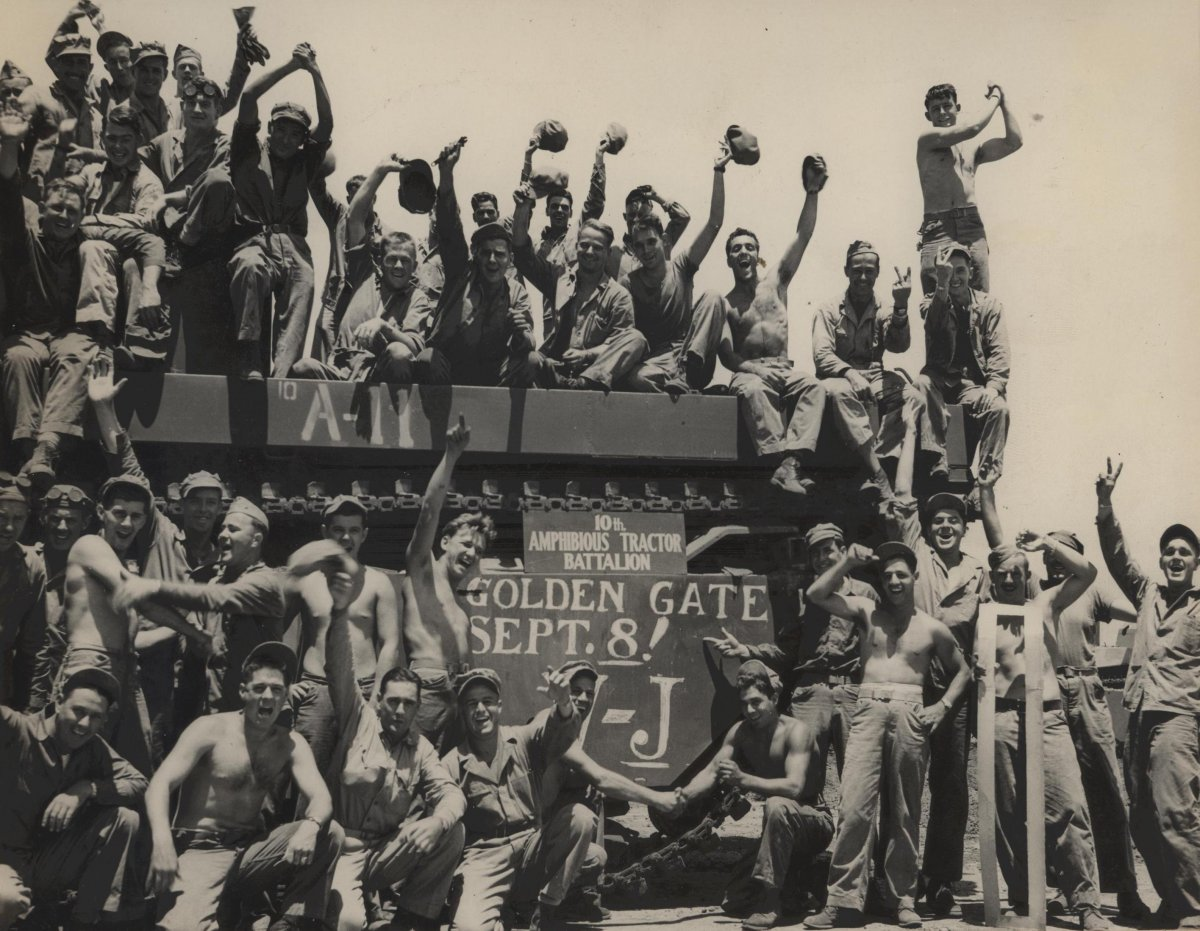 after-hearing-the-news-of-japans-surrender-marines-joyfully-pose-atop-an-amphibian-tractor-to-celebrate-the-end-of-wwii-and-victory-over-japan-day-in-1945