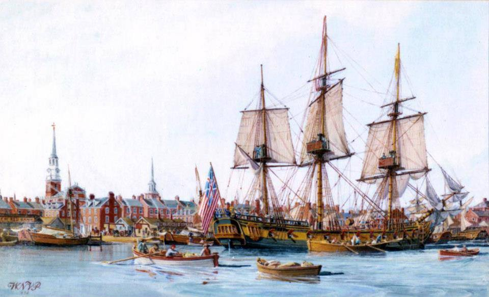 Lieutenant John Paul Jones, raises the Grand Union Flag while at anchor at Philadelphia, 3 December 1775.