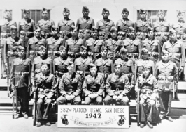The first detachment of Navajo Communications Specialists pose for this group picture upon completion of their basic training program in May, 1942.