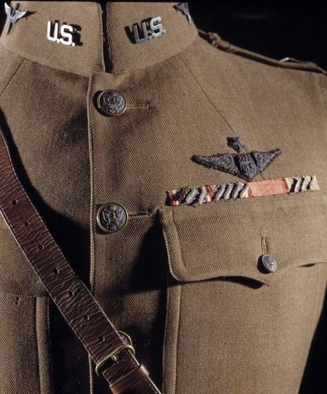 "On September 25, 1918, leading American World War I ace Eddie Rickenbacker attacked seven enemy airplanes alone and shot down two of them. He received the Medal of Honor for ""conspicuous gallantry and intrepidity above and beyond the call of duty in action against the enemy."" This uniform jacket was worn by Rickenbacker during World War I."