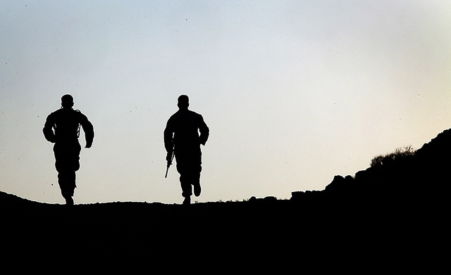 Running toward the sounds of chaos (U.S. Marine COrps photo by Staff Sgt. Robert Fisher)