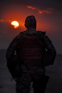 US Marine, sunset in Afghanistan
