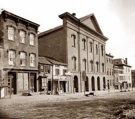 Old Ford's Theatre. 10th St. N.W. Washington D.C. This is the Building where President Abraham Lincoln was Assassinated. It is a rare view of the building as it looked at the time of the Assassination. It was made between 1860 and 1865 by Brady, Mathew (B. 1823 (ca.)-1896).