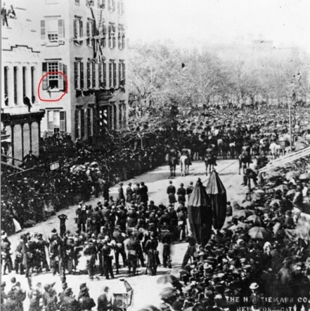 This remarkable photograph shows Abraham Lincoln's 1865 New York funeral procession passing the Cornelius Roosevelt residence. The boys in the circled window observing the procession are 6-year old future president Theodore Roosevelt and his brother.