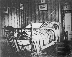 Photograph of President Abraham Lincoln's death bed, 1865