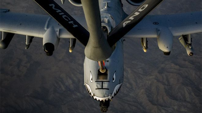 October 2, 2013: An A-10C Thunderbolt II receives fuel from a KC-135 Stratotanker over Afghanistan. The A-10 is deployed from Moody Air Force