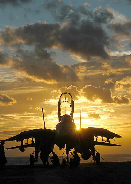 Grumman F-14 Tomcat in the Sunset.