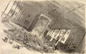 "DINING-ROOM OF THE :""GREAT EASTERN"" DURING THE GALE.—SKETCHED BY C. F. HAYWAED."