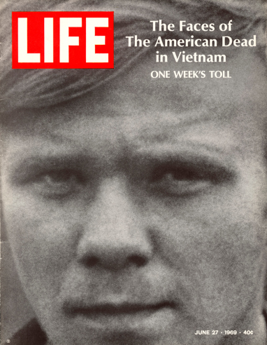 LIFE Magazine—The LIFE Picture Collection/Getty Images LIFE magazine, June 27, 1969, featuring a portrait of U.S. Army specialist William C. Gearing, Jr., one of 242 American servicemen killed in a single week of fighting during the Vietnam War.