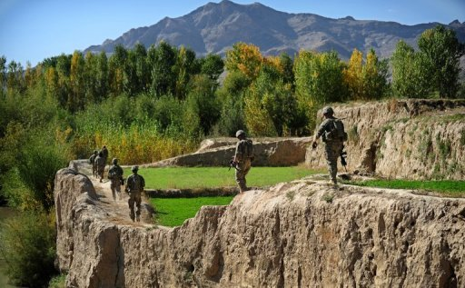 US soldiers patrol near Baraki Barak base in Logar Province, on October 11, 2012. The Afghan conflict, America's longest war