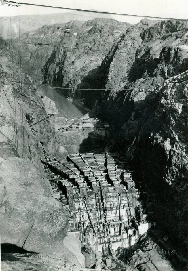 Concrete columns exposed during the construction of the Hoover Dam.