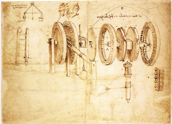 FACSIMILE OF CODEX ATLANTICUS F.8V-B TRANSFORMATION OF ALTERNATING TO CONTINUOUS MOTION: DESIGN FOR - LEONARDO DA VINCI