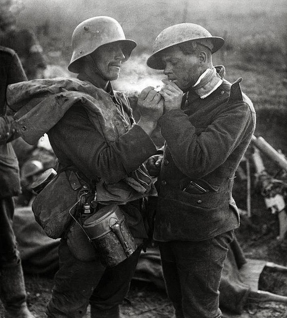 A German and British Soldier during the Christmas  truce of 1914