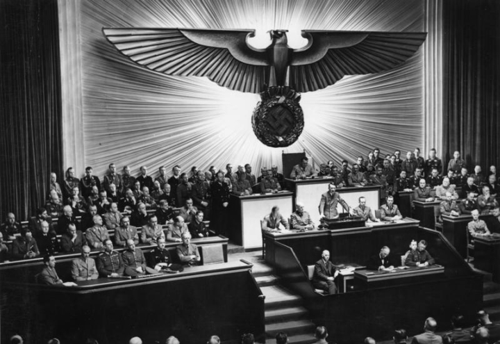 Adolf Hitler addresses the Reichstag on the 11th December 1941 after declaring war on the United States.