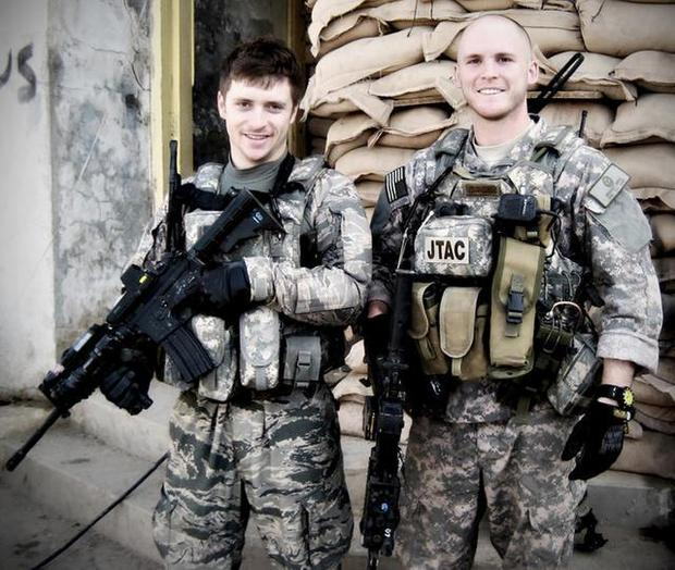 Senior Airmen Mike Malarsie (left) and Bradley Smith pose for a photo during their Afghanistan deployment. An improvised explosive device attack mortally wounded Airman Smith and injured Airman Malarsie in January 2010 in Afghanistan. The two tactical airlift control party Airmen were assigned to the 10th Air Support Operations Squadron at Fort Riley, Kan. (Air Force photo