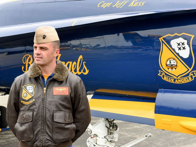 Matt Bell/The Register & Bee via AP This May 19, 2016, photo shows Marine Capt. Jeff Kuss at an air show