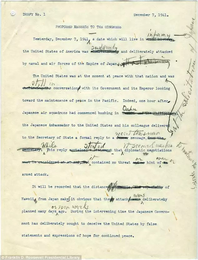 FDR's first draft speech December 8, 1941